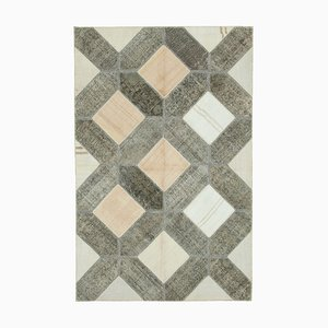 Vintage AnatolianGrey Hand Knotted Overdyed Patchwork Carpet
