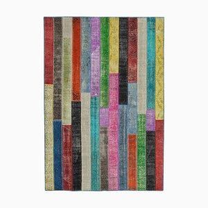 Multicolor Turkish Antique Handmade Overdyed Patchwork Carpet