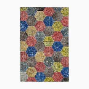 Multicolor Turkish Decorative Handmade Overdyed Patchwork Carpet