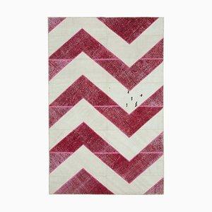 Rosa Anatolischer Überfärbter Patchwork Teppich aus Wolle
