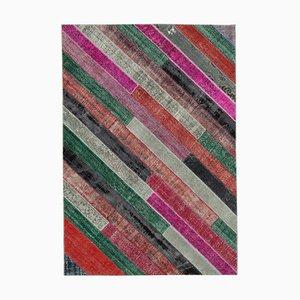 Tapis Patchwork Anatolien Multicolore Façon Main Noué Fait Main