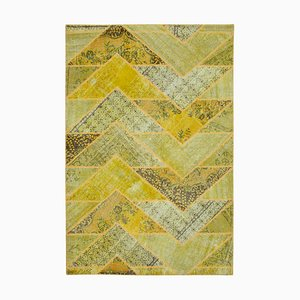 Vintage AnatolianYellow Hand Knotted Overdyed Patchwork Carpet