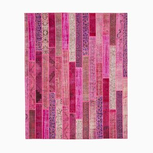 Pink Oriental Antique Hand Knotted Overdyed Patchwork Carpet