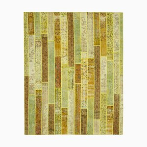Yellow Oriental Wool Hand Knotted Vintage Patchwork Carpet