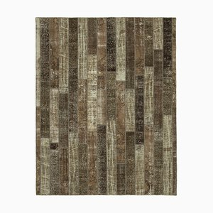 Brown Oriental Low Pile Hand Knotted Vintage Patchwork Carpet