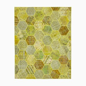 Yellow Oriental Contemporary Hand Knotted Vintage Patchwork Carpet