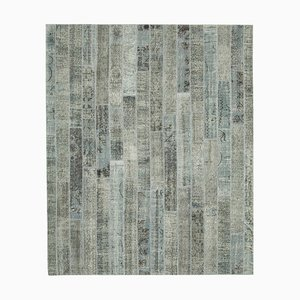 Grey Anatolian Antique Hand Knotted Vintage Patchwork Carpet