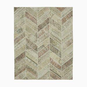 Alfombra anatolia teñida a mano de patchwork teñido en lana beige