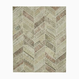 Beige Anatolian Wool Hand Knotted Over dyed Patchwork Carpet
