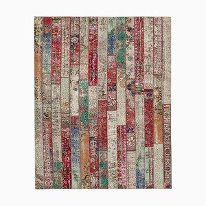 Mehrfarbiger Anatolian Patchwork Teppich mit Knöpfen in Hand-Knüpf Optik