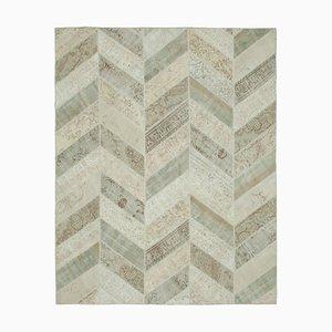 Beige Turkish Wool Handmade Vintage Patchwork Carpet