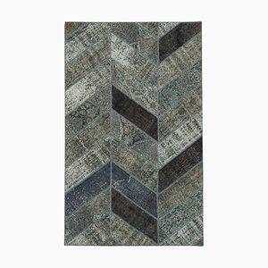 Grauer Handgewebter Überfärbter Patchwork Teppich aus anatolischer Wolle