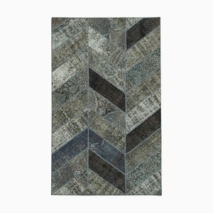 Grey Anatolian Wool Hand Knotted Over dyed Patchwork Carpet
