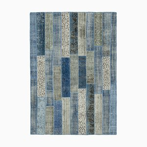 Blue Anatolian Low Pile Hand Knotted Overdyed Patchwork Carpet