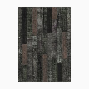 Black Anatolian Decorative Hand Knotted Vintage Patchwork Carpet