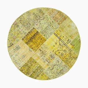 Vintage Vintage Turkish Yellow Handmade Round Patchwork Carpet