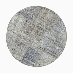 Grey Anatolian Antique Hand Knotted Round Patchwork Carpet