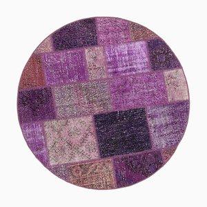 Lila Anatolischer Handgeknüpfter Runder Patchwork Teppich aus Wolle