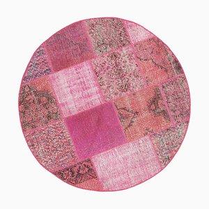 Tappeto Anatolian Patchwork rotondo rosa annodato a mano