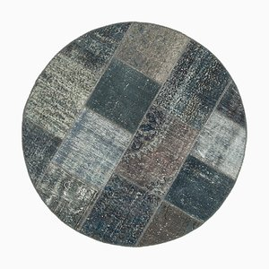 Grey Anatolian Decorative Hand Knotted Round Patchwork Carpet