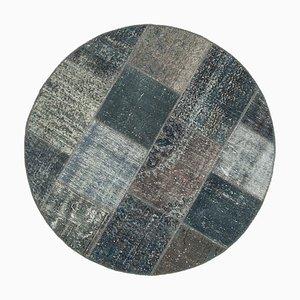 Tappeto decorativo patchwork anatolico grigio annodato a mano rotondo