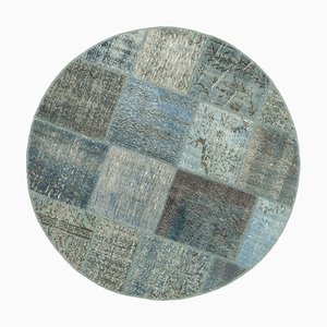 Vintage Anatolian Blue Hand Knotted Round Patchwork Carpet