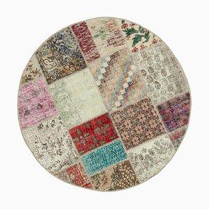 Tappeto multicolore Anatolian tradizionale annodato a mano rotondo con patchwork
