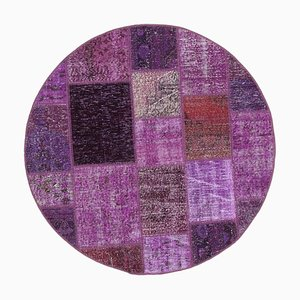 Purple Oriental Antique Hand Knotted Round Patchwork Carpet