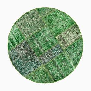 Green Oriental Antique Hand Knotted Round Patchwork Carpet