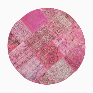 Pink Oriental Low Pile Hand Knotted Round Patchwork Carpet