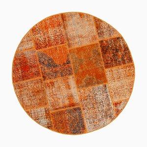 Vintage Orange Oriental Hand Knotted Round Patchwork Carpet