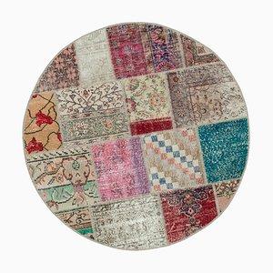 Multicolor Türkischer Niedriger Handgemachter Runder Patchwork Teppich