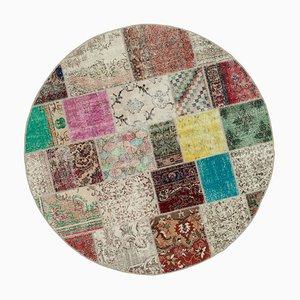 Vintage Turkish Multicolor Handmade Round Patchwork Carpet