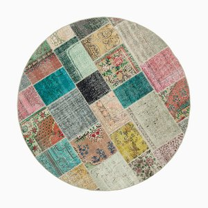Multicolor Anatolian Low Pile Hand Knotted Round Patchwork Carpet