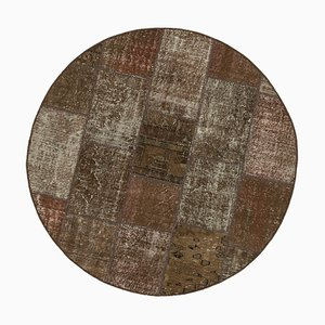 Brown Anatolian Decorative Hand Knotted Round Patchwork Carpet