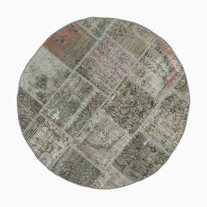 Vintage AnatolianGrey Hand Knotted Round Patchwork Carpet