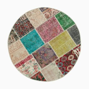 Multicolor Anatolian Traditional Hand Knotted Round Patchwork Carpet
