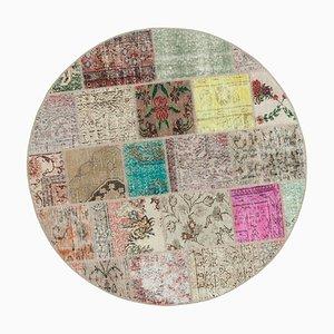 Multicolor Turkish Wool Handmade Round Patchwork Carpet