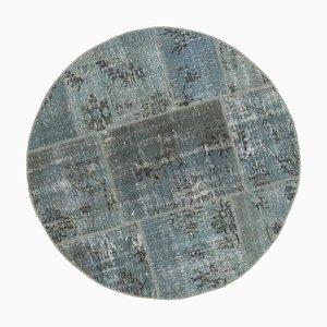 Vintage Turkish Grey Handmade Round Patchwork Carpet