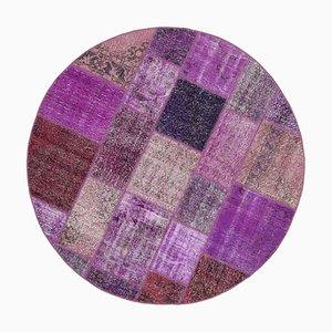 Purple Anatolian Wool Hand Knotted Round Patchwork Carpet