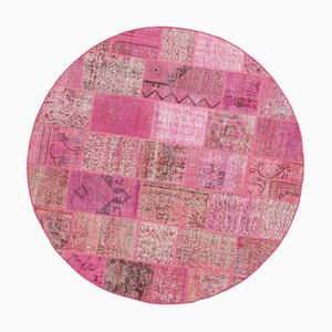 Pink Anatolian Low Pile Hand Knotted Round Patchwork Carpet