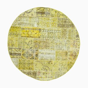 Yellow Anatolian Traditional Hand Knotted Round Patchwork Carpet