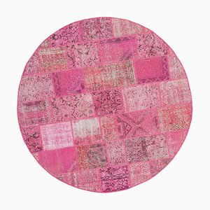 Pink Oriental Antique Hand Knotted Round Patchwork Carpet