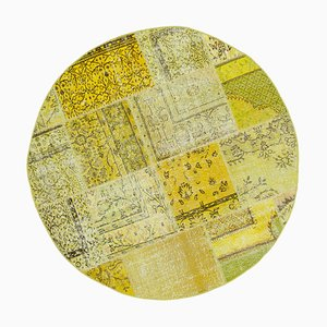 Yellow Oriental Low Pile Hand Knotted Round Patchwork Carpet