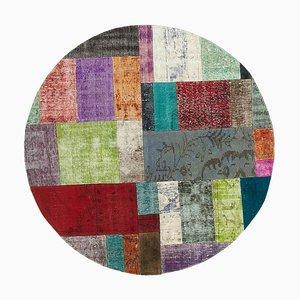 Türkischer Mehrfarbiger Handgeknüpfter Runder Patchwork Teppich