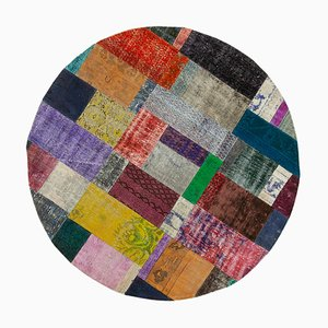 Multicolor Anatolian Antique Hand Knotted Round Patchwork Carpet