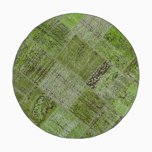 Green Anatolian Wool Hand Knotted Round Patchwork Carpet