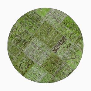 Tappeto rotondo patchwork annodato a mano in lana verde anatolica