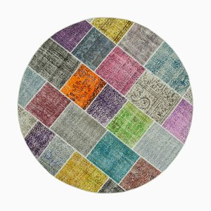 Vintage Anatolian MulticolorHand Knotted Round Patchwork Carpet