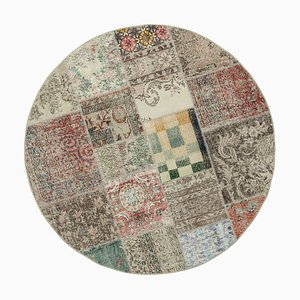 Beige Anatolian Traditional Hand Knotted Round Patchwork Carpet